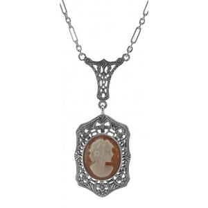 Hand-carved Italian Shell Cameo Necklace