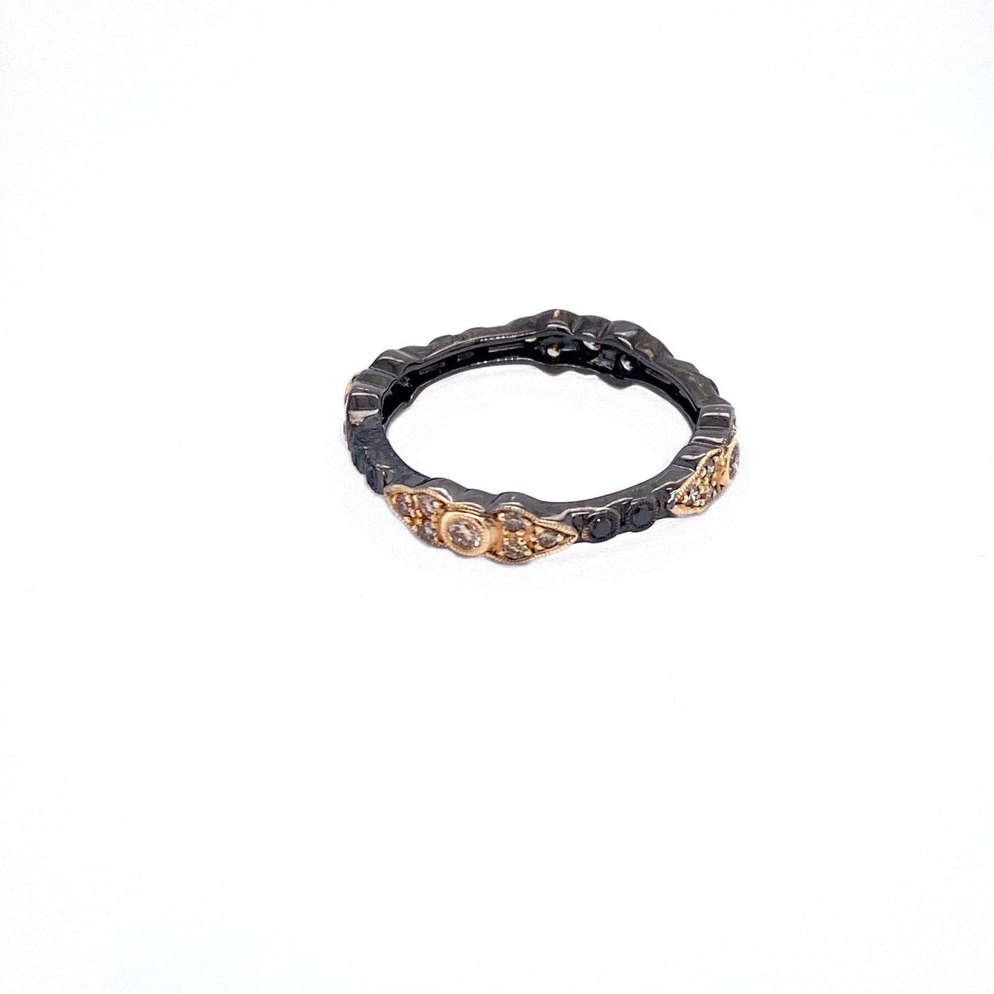 Black & Cognac Diamond Vintage Inspired Ring