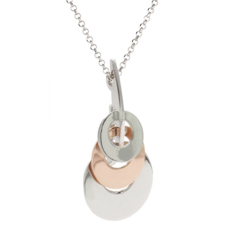 STERLING SILVER ROSE GOLD PLATED LAYERED DISCS NECKLACE
