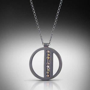 Oxidized Colored Diamond Pendant