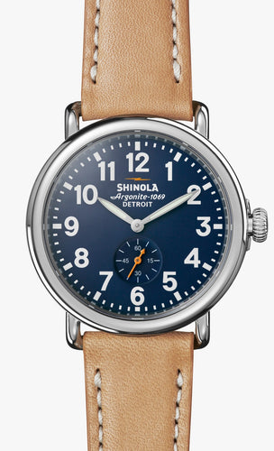 THE RUNWELL 41MM Blue Dial on Tan Strap