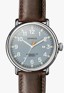 THE RUNWELL 47MM Slate Blue Dial on Deep Brown Strap