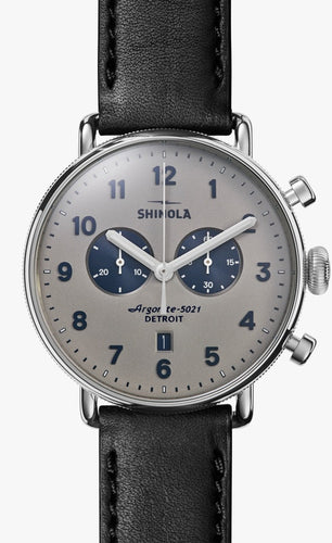 THE CANFIELD CHRONO 43MM Matte Gray Dial on Black Strap