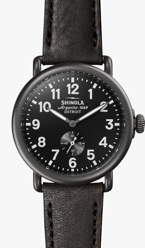 THE RUNWELL 41MM Black Dial on Black Strap