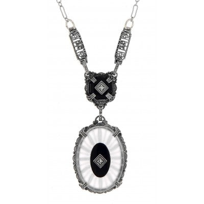 Victorian Inspired Crystal Camphor Glass Necklace