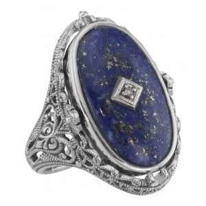 Victorian Inspired Oval Lapis Ring