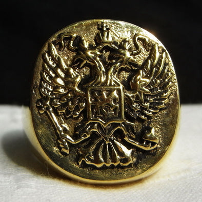 BAGUE RING RUSSIE AIGLE A DEUX TETES - RUSSIAFR