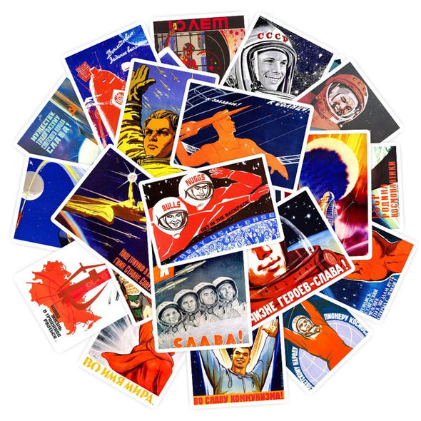 25 STICKERS AUTOCOLLANTS REPRODUCTIONS AFFICHES DE PROPAGANDE RUSSE RUSSIE URSS - RUSSIAFR