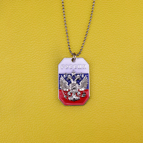 PENDENTIF PLAQUE DOG TAG AIGLE A DEUX TETES RUSSIE - RUSSIAFR