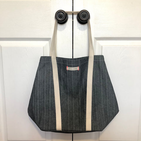 Signature Tote Bag - Chevron Denim