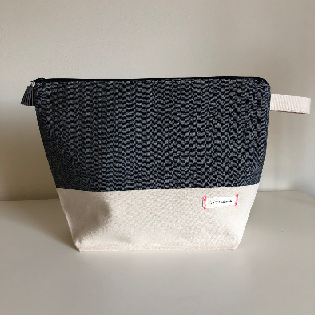 Large Signature Project Bag- Chevron Denim