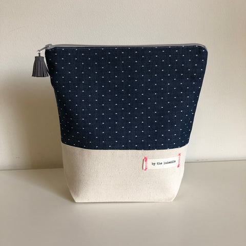 Small Signature Project Bag- Chambray Dots