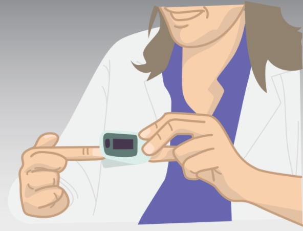 Doctor demonstrating a pulse oximeter device