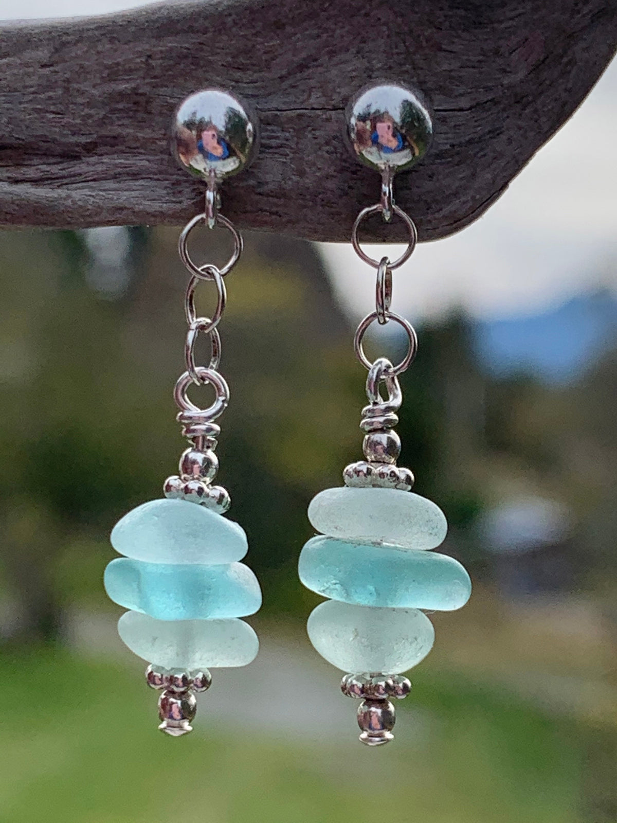 Mix Aqua Sea Glass Earrings (Studs)
