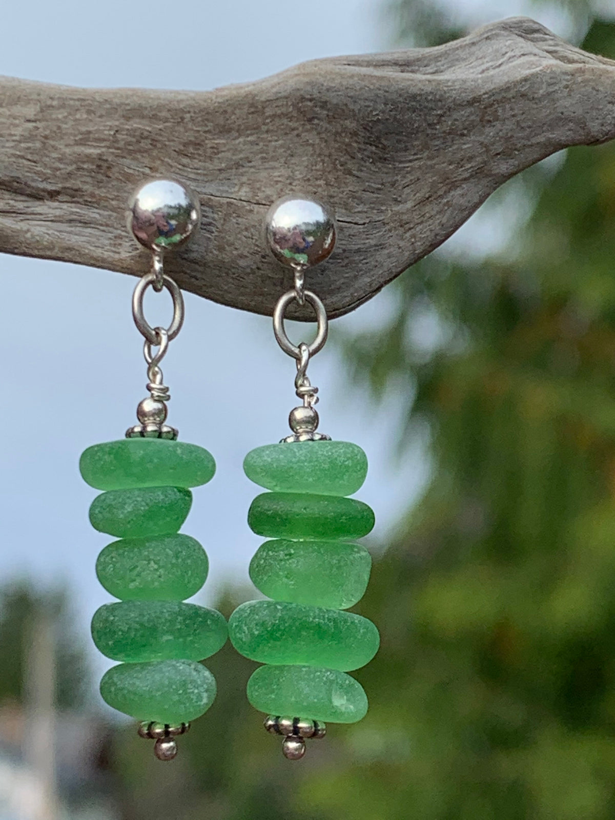 Green 5 piece Sea Glass Earrings (Studs)