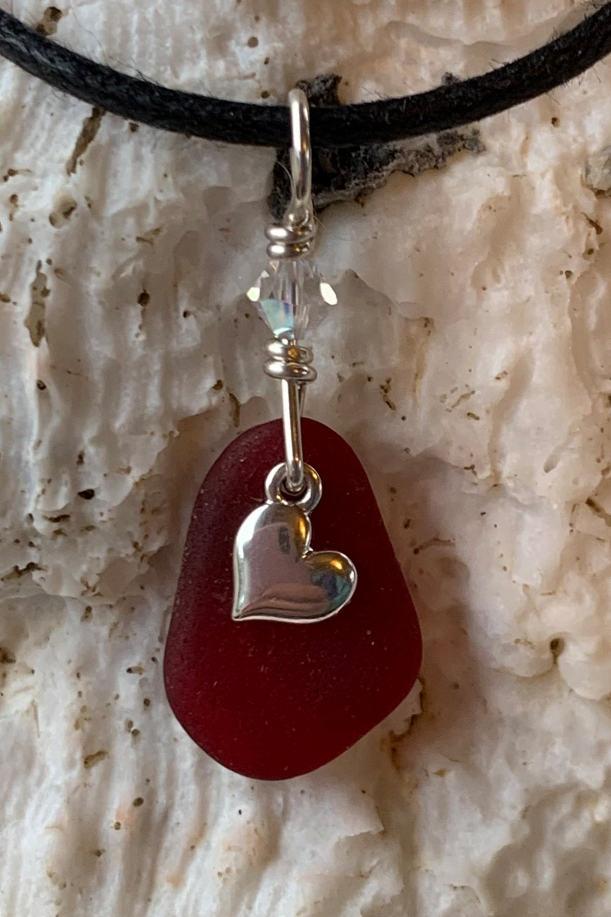 Sea Glass with Sterling Heart Pendant 28