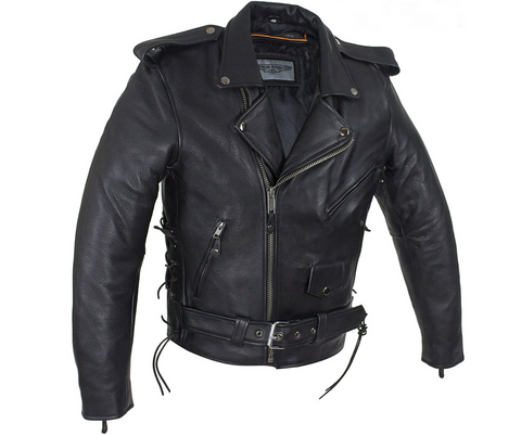 b57e547d758 Mens Classic Police Style Motorcycle Jacket With Side Laces ...