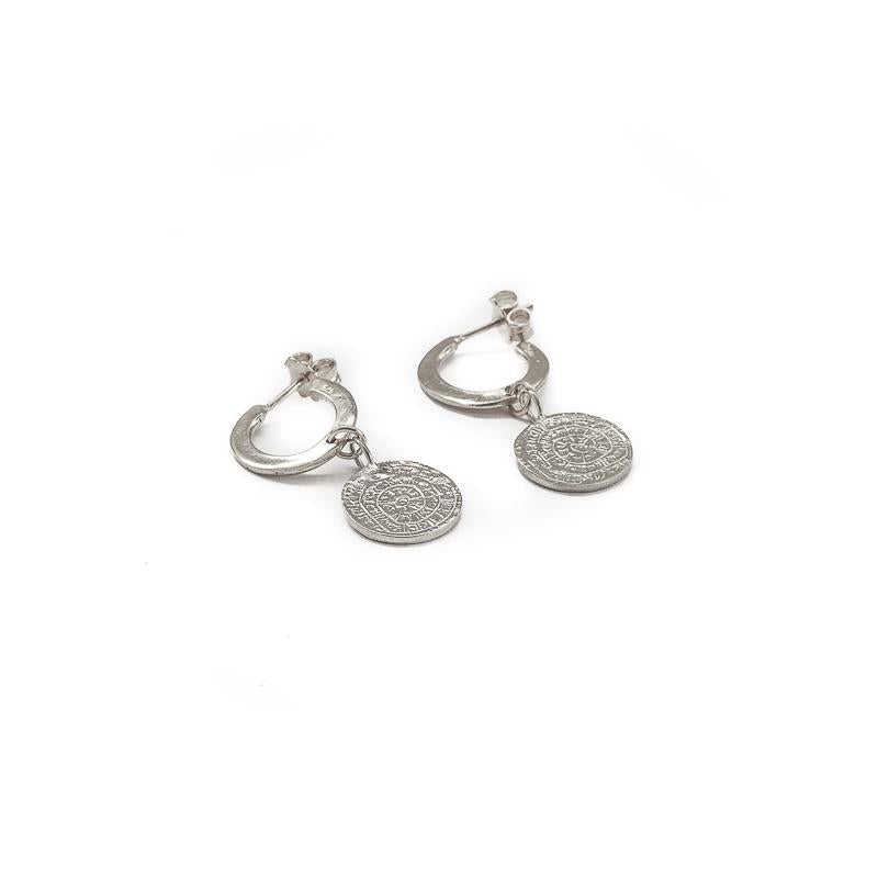 Faistos Disc Earrings-Silver