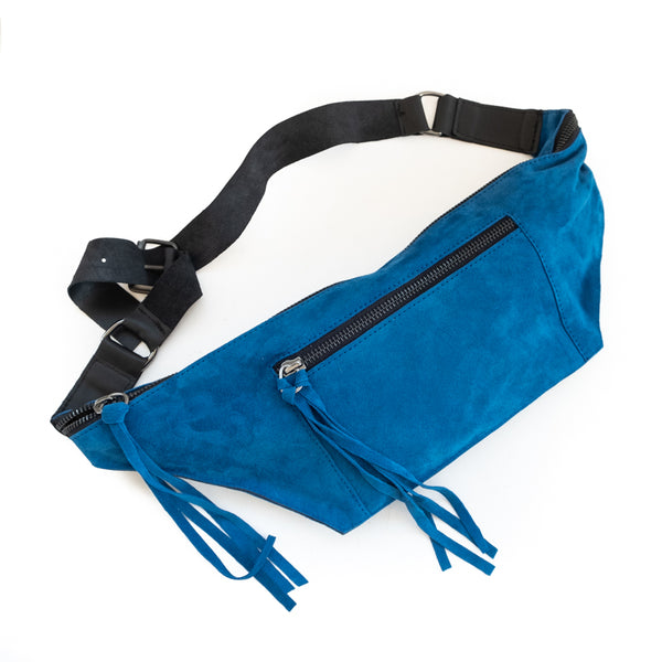 Bravado. Handmade, leather, fanny pack, in cobalt blue. By 3rd Floor handmade bags