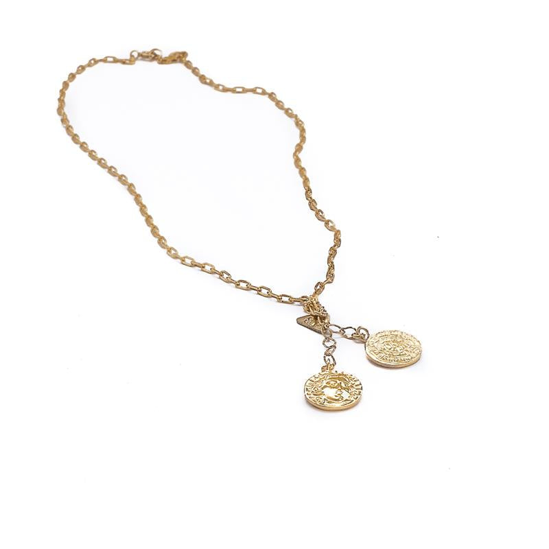 Double Coin Necklace-Gold