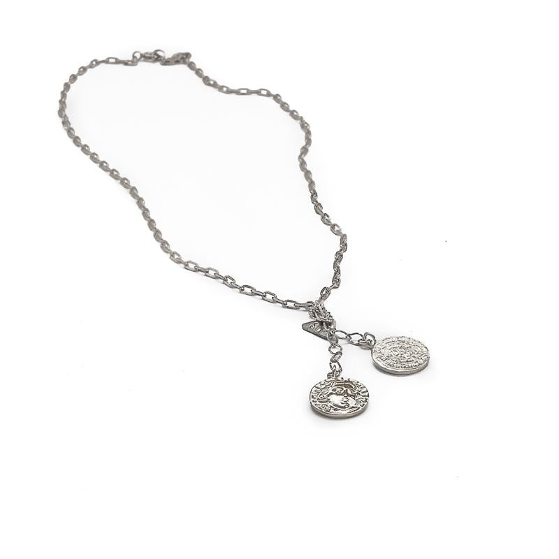 Double Coin Necklace-Silver