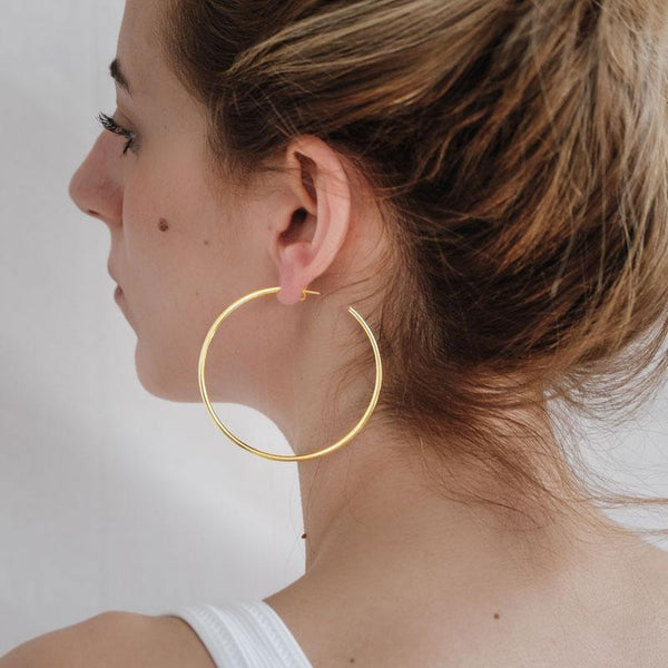 Hollow Medium Earrings-Gold