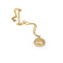 Load image into Gallery viewer, Knossos. Handmade, gold plated brass, pendant festooned with the Prince of Lillies. By 3rd Floor Hamdade Jewellery