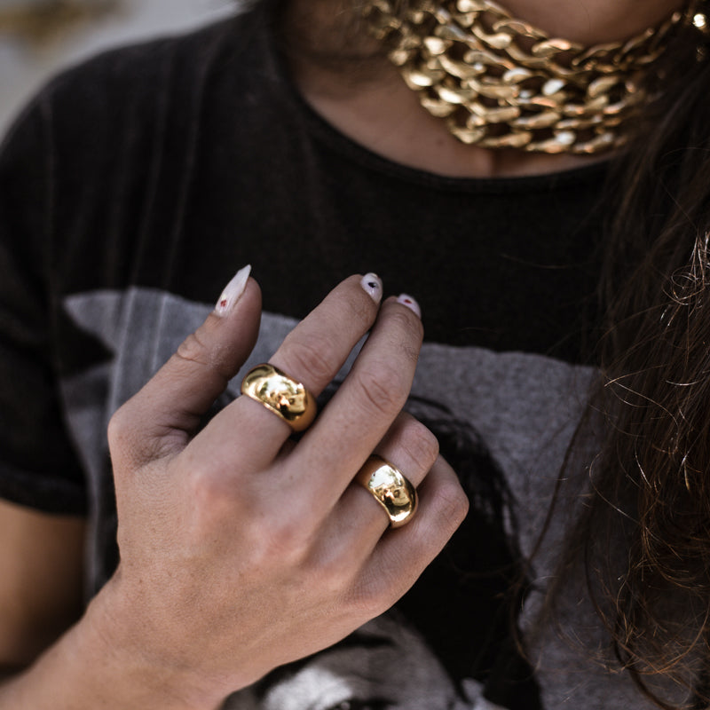 woman with gold handmade ring meliora made in athens by 3rd-floor workshop