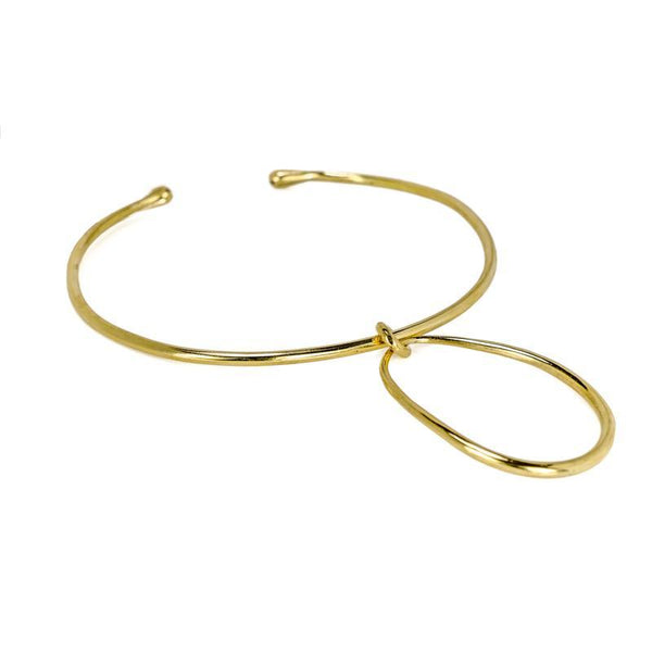 Round About Handmade Collar Necklace-Gold