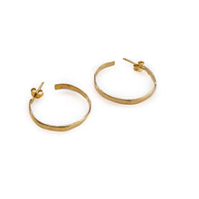 Load image into Gallery viewer, Gold plated, handmade hoop earrings by 3rd Floor Handmade Jewellery
