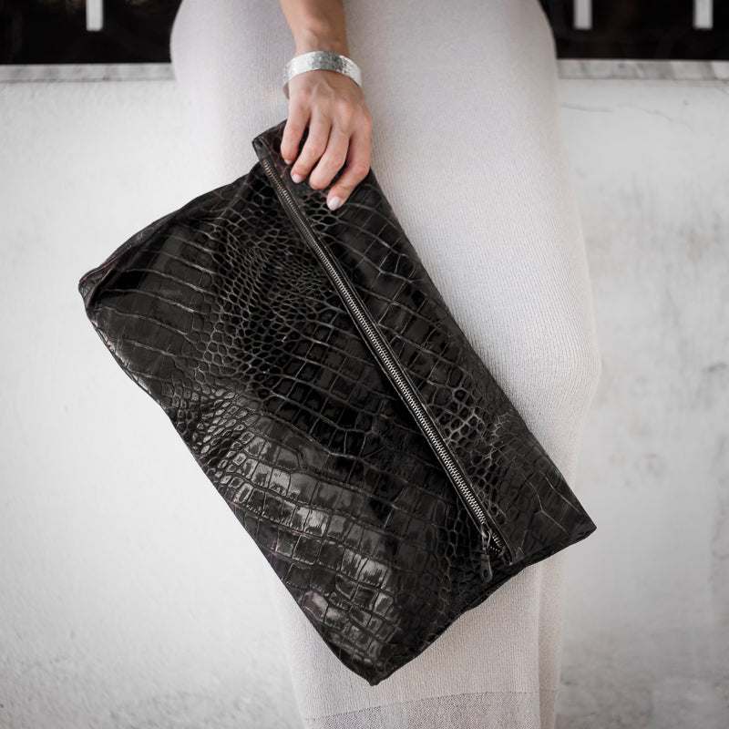 woman with white dress holding handmade leather-bag, croco-black. made in athens