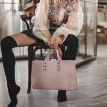 Load image into Gallery viewer, girl is holding a dusty pink leather bag mini jet made in greece