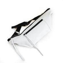 Load image into Gallery viewer, Bravado. Handmade, fanny pack, in white leather. By 3rd Floor handmade bags