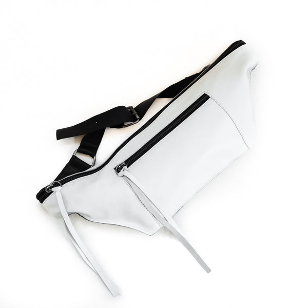 Bravado. Handmade, fanny pack, in white leather. By 3rd Floor handmade bags