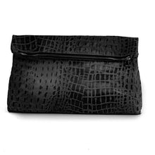 Load image into Gallery viewer, handmade leather-bag, croco-black. made in athens