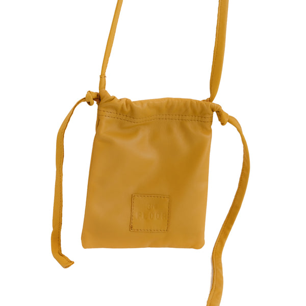 Gogo. Yellow, leather, handmade, post cross bag, by 3rd Floor