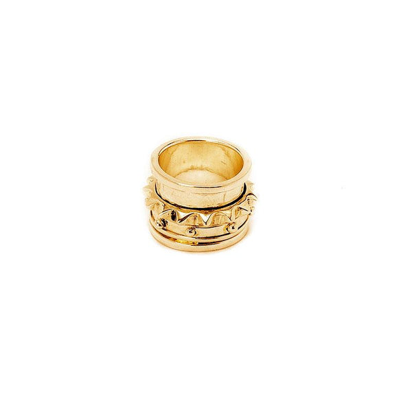 New York. Handmade, gold plated, wide ring with loosely placed rings on it. 3rd Floor Handmade Jewellery