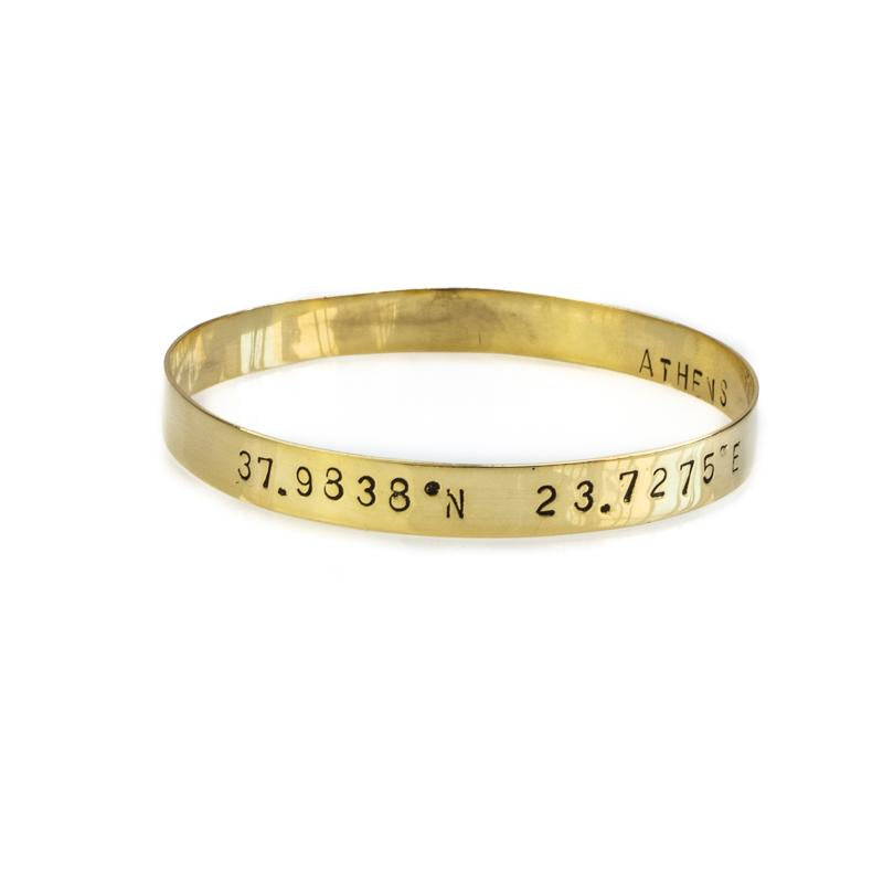 Marco Polo, gold plated, 925° silver handmade bangle bracelet, stamped with your choice of longitude and latitude coordinates