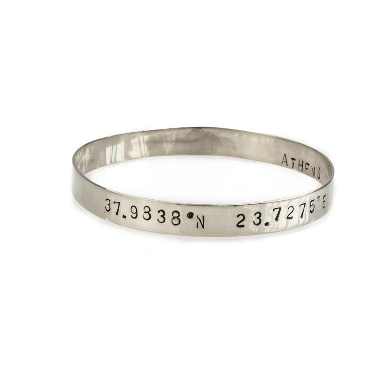 Marco Polo handmade bangle bracelet stamped with your choice of longitude and latitude coordinates - By 3rd Floor Jewellery