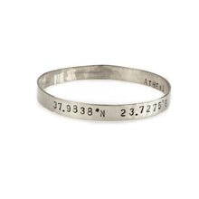 Load image into Gallery viewer, Marco Polo handmade bangle bracelet stamped with your choice of longitude and latitude coordinates - By 3rd Floor Jewellery