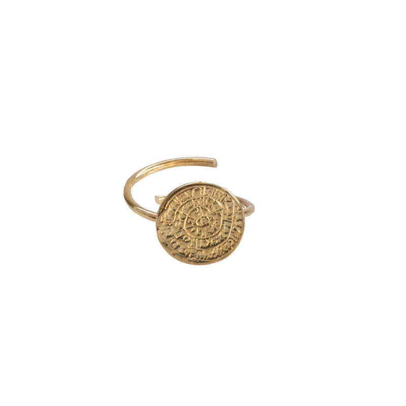Gold plated, handmade ring, adorned with the Disc of Phaistos. 3rd Floor Handmade Jewellery Coin Collection