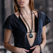 Load image into Gallery viewer, woman in black dress wearing handmade jewellery Joy black necklace