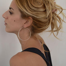 Load image into Gallery viewer, girl with Longone handcrafted hoop earrings by 3rdfloor jewels gold