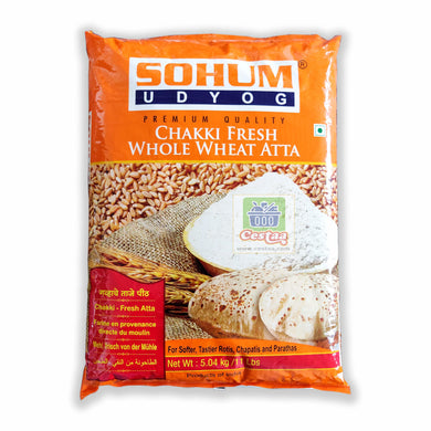 Buy Sohum Gehu Atta grocery online which is made from good quality lokwan wheat grains from India, yielding soft, tasty chapatis or chappati or rotis. Sohum Gehu Atta is also referred as Soham Gehu Aata or Sohum Whole Wheat Flour or Sohum Chakki Fresh Gehu Atta. Packaging available in 1Kg or 5kg. Cestaa Retail Ireland Online Grocery Store Dublin