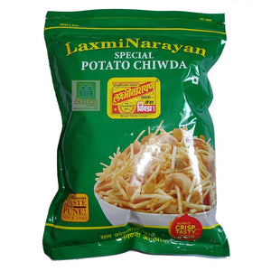LaxmiNarayan Potato Chiwda or Chivda or Chiwada or Mixture is famous Indian snack from West of India, Gujrat and Maharashtra. LaxmiNarayan is an authentic and popular brand from Pune, renowned all over India and gained popularity worldwide due to its quality and crunchy taste.  Checkout LaxmiNarayan Potato or Aloo or Alu Chiwda  online at Cestaa Retail (www.cestaa.com) in The Republic of Ireland.