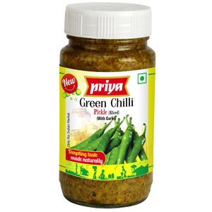 Priya Green Chilli (sliced) without Garlic Pickle 300g Cestaa Ireland