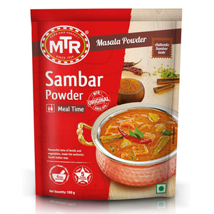 Famous Sambar Powder from MTR, very tasty stew of lentils, red chillies & vegetables - made the authentic South Indian way with a spicy twist.