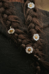 white person hair texture braid with flowers