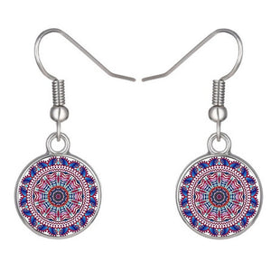 Colorful lotus flower glass cabochon drop earrings