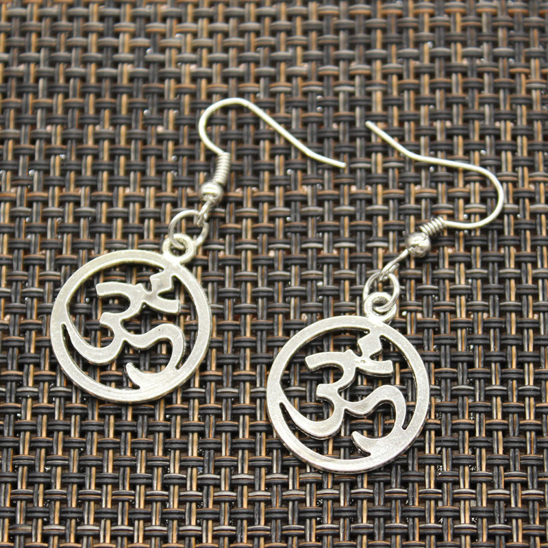 Antique Silver Color yoga/om Dangle Earrings